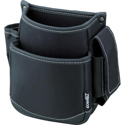 トラスコ中山(TRUSCO) 腰袋 2段 携帯電話ホルダー付き ブラック TWP2-BK